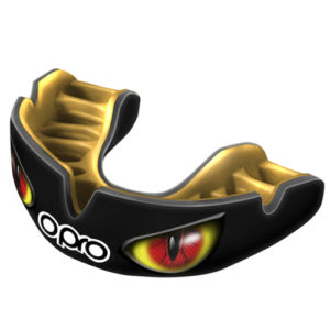 OPRO Power-Fit Aggression Mouthguard – Black/Red Eyes