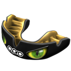 OPRO Power-Fit Aggression Mouthguard – Black/Green Eyes