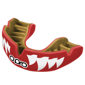 OPRO Power-Fit Aggression Mouthguard – Red/White Jaws