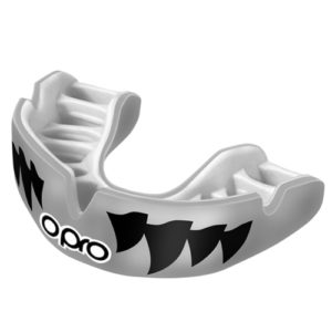 OPRO Power-Fit Aggression Mouthguard – Silver/Black Jaws
