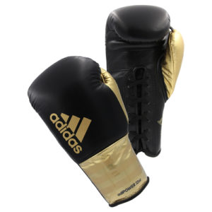 Adidas AdiPower Lace Up Boxing Gloves – Black/Gold