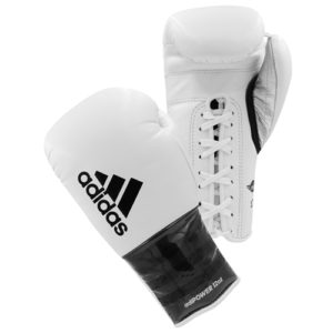 Adidas AdiPower Lace Up Boxing Gloves – White/Black