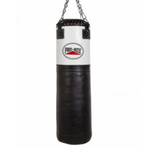 Pro-Box 'Black Collection' Leather Punchbag 4ft – Black/White