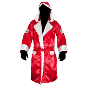 Cleto Reyes Sating Boxing Robe with Hood – Red/White