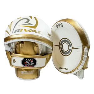 Rival RPM100 Professional Punch Mitts – White/Gold