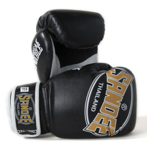 Sandee Junior Cool-Tec Synthetic Leather Boxing Glove – Black/Gold/White