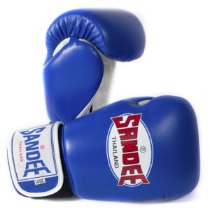 Sandee Authentic Leather Boxing Glove – Blue / White