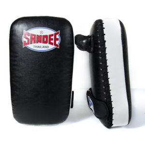 Sandee Junior Extra Thick Synthetic Leather Flat Thai Kick Pads – Black/White