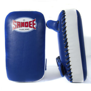Sandee Junior Extra Thick Synthetic Leather Flat Thai Kick Pads – Blue/White
