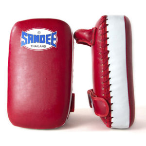 Sandee Junior Extra Thick Synthetic Leather Flat Thai Kick Pads – Red/White
