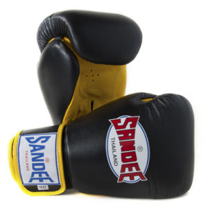 Sandee Authentic Leather Boxing Glove – Black / Yellow