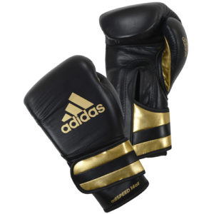 Adidas AdiSpeed Hook and Loop Boxing Gloves – Black/Gold