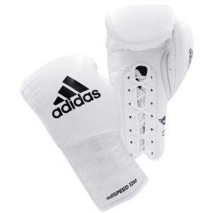 Adidas AdiSpeed Lace Up Boxing Gloves – White/Black
