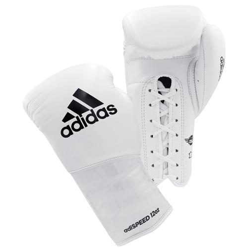 Adidas AdiSpeed Lace Up Boxing Gloves – White/Black