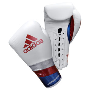 Adidas AdiSpeed Lace Up Boxing Gloves – White/Red/Blue