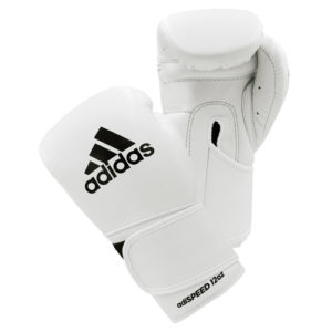 Adidas AdiSpeed Hook and Loop Boxing Gloves – White/Black