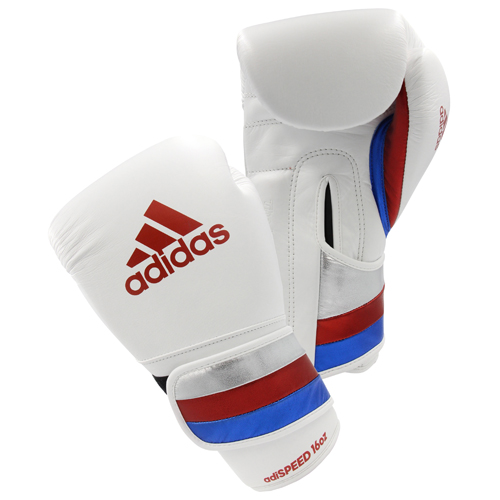 Adidas AdiSpeed Hook and Loop Boxing Gloves – White/Red/Blue