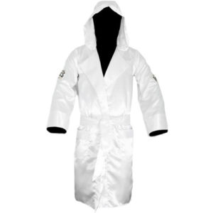 Cleto Reyes Sating Boxing Robe with Hood – White