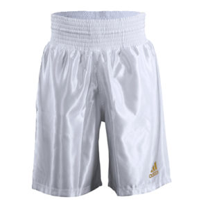 Adidas 18 Satin Boxing Shorts – White/Gold – *Sugar Rays Exclusive*
