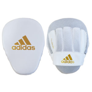 Adidas Speed Mesh Focus Mitts – White/Gold