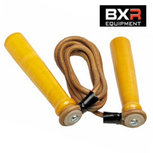 BXR Wooden Handle Leather Speed Rope 7ft-10ft